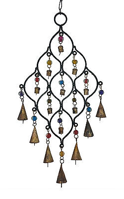 Wind Chime with Metal Bells Coloured Glass Beads, Black Metal, Feng Shui, Hippy