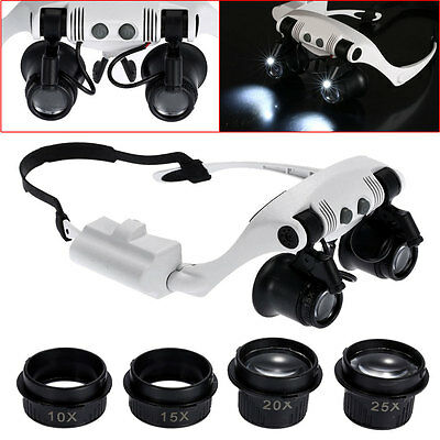 20X 10X 15X 25X LED Double Eye Jewelry Watch Repair Magnifier Loupe Glasses Tool