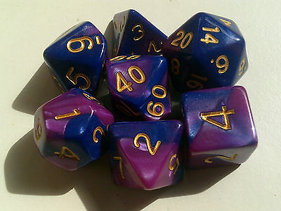 Set of 7 Blue and Purple Dice for RPG games Dungeons & Dragons etc. FREE POSTAGE