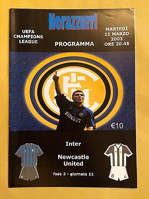 ⚽ Inter Milan v Newcastle United ����⚽ - 2002-2003 Champions League Programme