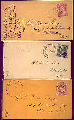 1857 US: 3 OLD COVERS in A1 CONDITION  and NO  RESERVE