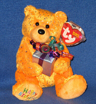 TY HAPPY BIRTHDAY the ORANGE BEAR HOLDING PRESENT - MINT with MINT TAG