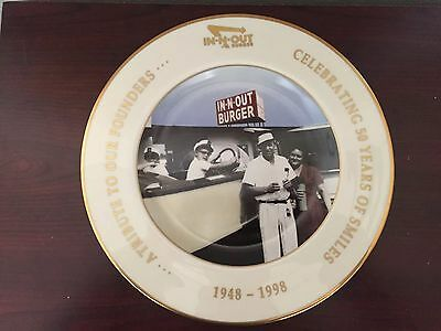 IN N Out Burger 50th Anniversary commemorative plate - 1948 To 1998
