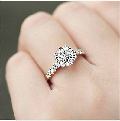 1.50CT Off White Round Cut Real Moissanite Engagement Ring .925 Sterling Silver