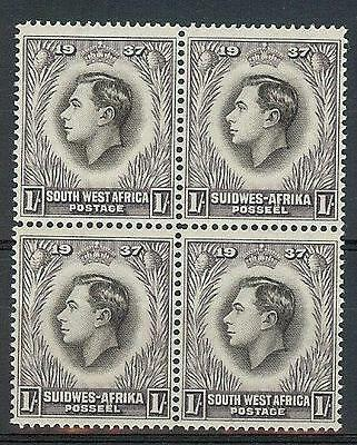South West Suidwes Africa 1937 Sc# 132 1sh George VI Coronation block 4 MNH