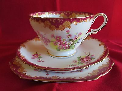 Shelley Henley Blossom footed cup saucer and plate or trio Burgundy and floral