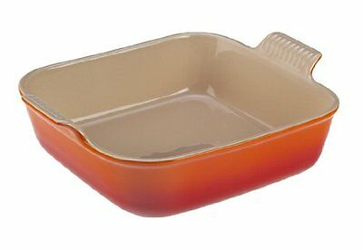 Le Creuset Heritage Stoneware 5in Square Dish Flame, New