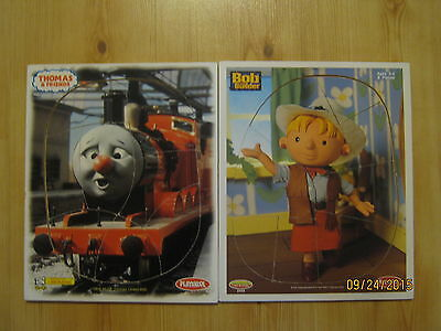 2 Vintage PLAYSKOOL Wooden Puzzles, Bob the Builder & Thomas & Friends