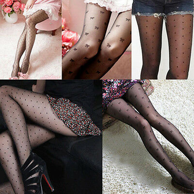 Womne Black Hollow Out Multi Pattern Tight Pantyhose Fishnet Stockings Tights