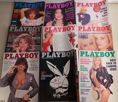 Lot of 9 Playboys 1989 Almost Complete Year January - December Playboy Magazine