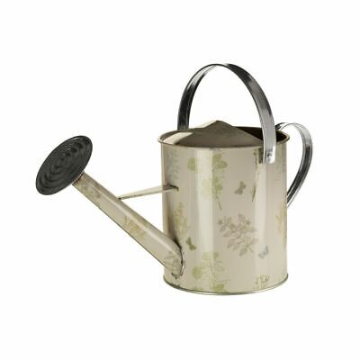 Jardin 5 Litre Watering Can, Galvanised Steel / Powder Paint, Natural / Green