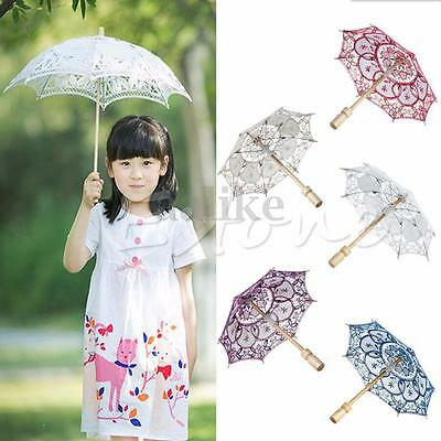 Embroidered Umbrella Lace Parasol Bridal Wedding Party Decoration Wooden Handle