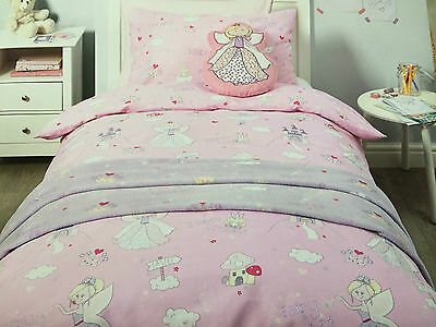 Girls Single Duvet Cover And Pillow Case Fairy Princess Pink