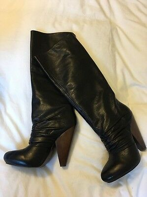 Ash 100% Genuine Leather Black Knee High Boots Size 6, 39