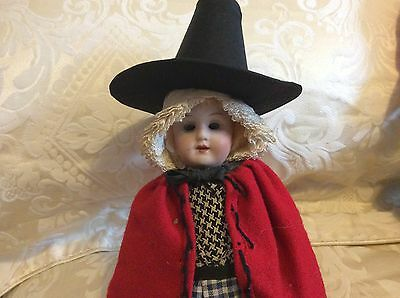 Rare Antique WELSH costume Bisque Head Doll marked DEP c1910 7 1/2 inches