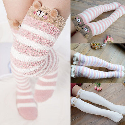 Winter Warm Striped Knee Thigh High Thick Stockings Cute Cartoon Animal Socks