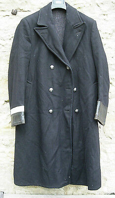 Vintage early British Railways heavy wool coat overcoat double breasted med/lge