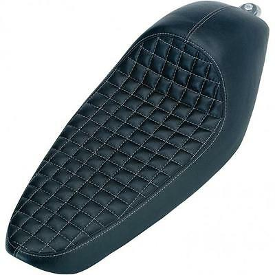 Biltwell Cafe Solo HD Harley Davidson Sportster Checkers Seat - Black