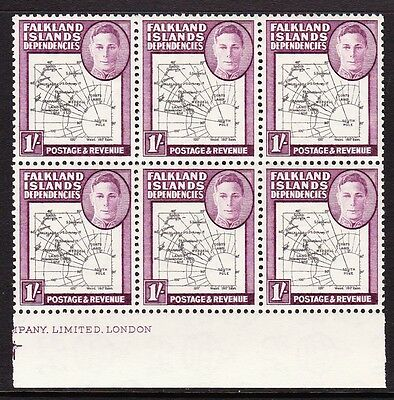 FALKLAND IS.DEPS 1946 1/- WITH 'SOUTH POKE' VARIETY SG G8c MNH.