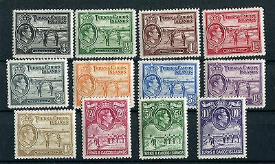 Turks & Caicos KGVI 1938 first issue set of 12 SG194//205 mounted mint