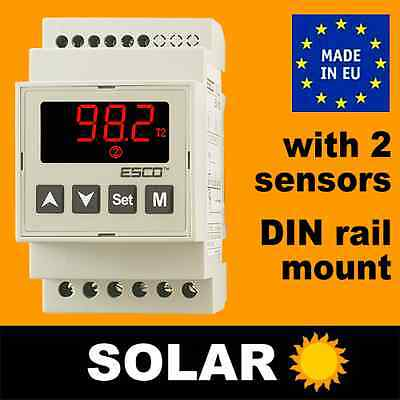 SOLAR thermostat boiler differential Temperature Controller DIN rail +2 SENSORS