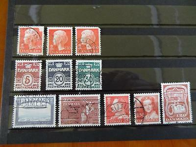 11 Stamps From Denmark - Used And Off Paper