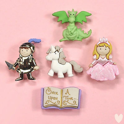 DRESS IT UP Buttons Once Upon A Time 7021  Unicorn Princess Knights Dragon Fairy