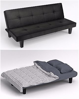Modern Black Faux Leather Click Clack Fold Down Sofa Bed Living Room Furniture