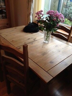 Corona Mexican Pine Dining Table and Four Chairs