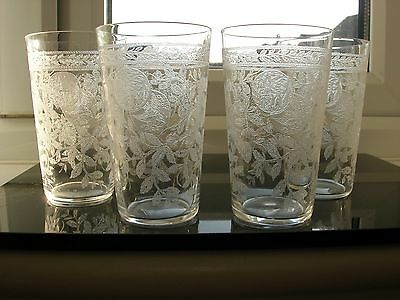 Antique - Four Acid Etched Victorian Crystal Small Tumblers - Fine Detail.