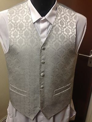 Hector James Waistcoat, Silver, Grey, Various Sizes, Wedding / Formal Wear (037)