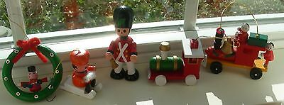 Vintage Christmas Ornament Trains  Soldiers Sled Wreath Five wooden