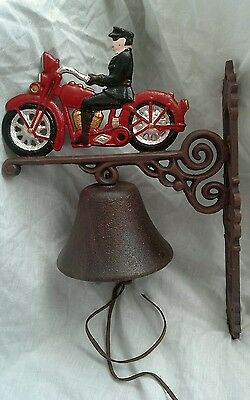 Cast iron vintage  motorcycle  wall bell with bracket. New reproduction.
