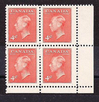 CANADA 1949-51 4c VERMILION WITH WIDE STAMPS SG 417b MINT/ MNH.
