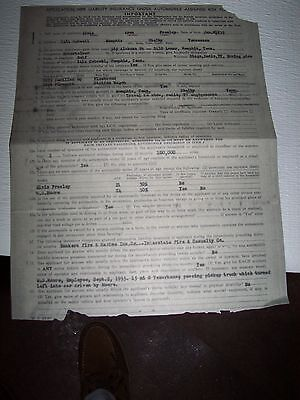 Elvis Presley  Application For Auto Insurance For 2 Of Elvis' Cars