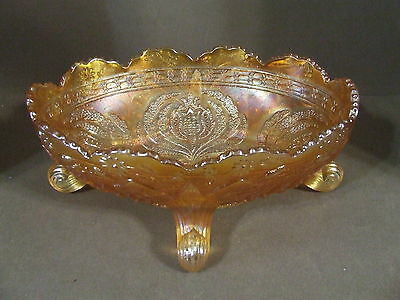 Antique Fenton Light Marigold Thistle Carnival Art Glass Banana Boat