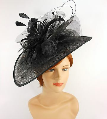 New Church Derby Wedding Pleated Fascinator Hat Headband 2450 Black