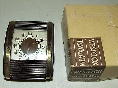 Vintage Westclox Roll-Top Travalarm Bakelite Wind-up Alarm Clock w/Original Box