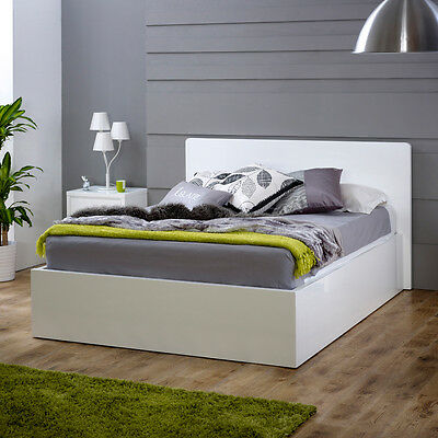 White High Gloss 5ft King Size Bed - Painted Low Foot Board - BRAND NEW - WG05