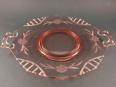 Cambridge Glass DECAGON Pink Handled Tray with Floral Cut Design