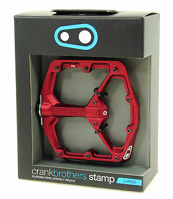 Crank Brothers STAMP Platform Mountain Bike Pedals, Red, Large