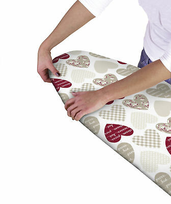 Country Club Multi Fit Elasticated Ironing Board Cover Hearts Double Layer Back