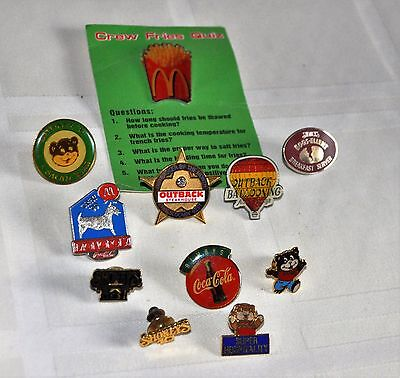 Lot of 11 Restaurant Employee Lapel Pins Hat Pins McDonald's Swifty Outback Coke