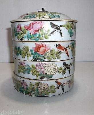 Antique Chinese Porcelain LUNCH BOX Stacking Hand Painted BIRDS Flowers POETRY
