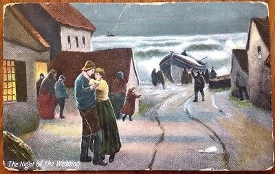 Early Postcard Lifeboat ship in distress THE NIGHT OF THE WEDDING RNLI J W Bland