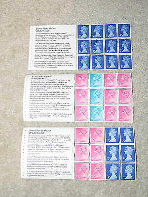 Vintage 1970s - 3 blocks of 12 Machin stamps - Wedgwood Facts Series MNH