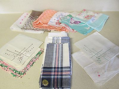Mixed Lot of 14 Vintage Hankies Handkerchiefs-Embroidered, Men's, Floral Cotton!