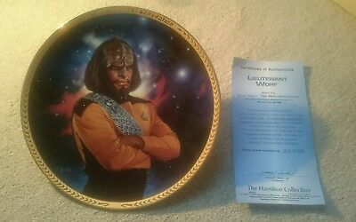 Star Trek The  Next Generations  Plates Lieutenant Worf From Hamilton Collection