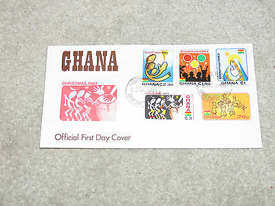Vintage 1983 Ghana Christmas First Day Cover - set of 4 stamps