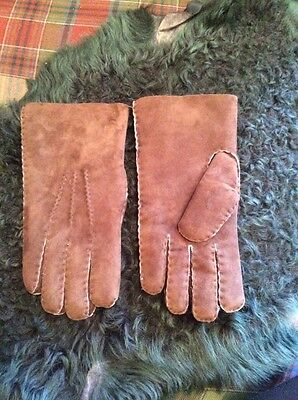 Hand sewn Brown Leather Lambskin Gloves Natural Shearling Wool New